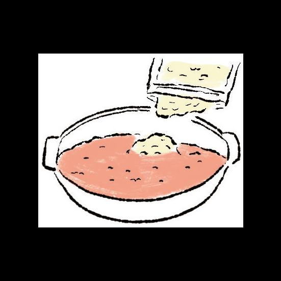 黒豚とネギを食べ終えたら、リゾットの準備が出来ます。