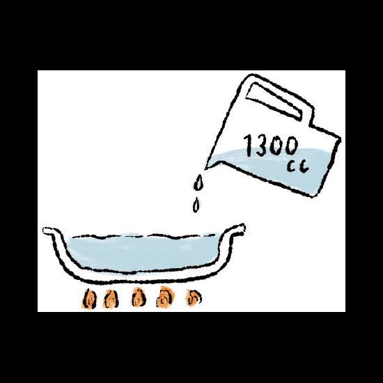 お鍋に水を1300cc入れ、沸騰させます。