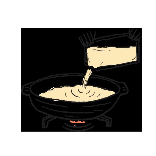 お鍋に和出汁を入れ、沸騰させます。